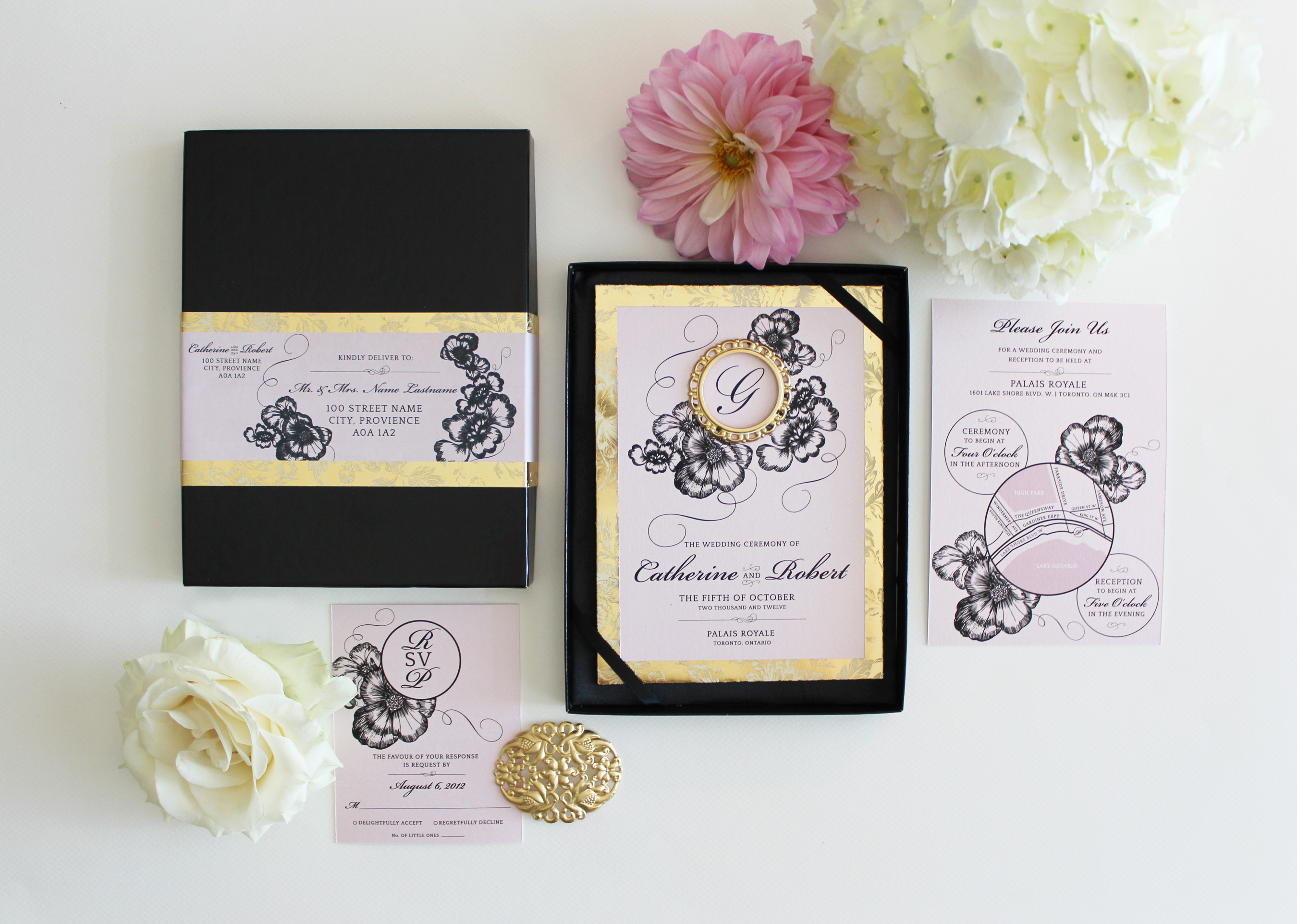 Blush Pink, Gold And Black Boxed Wedding Invitation