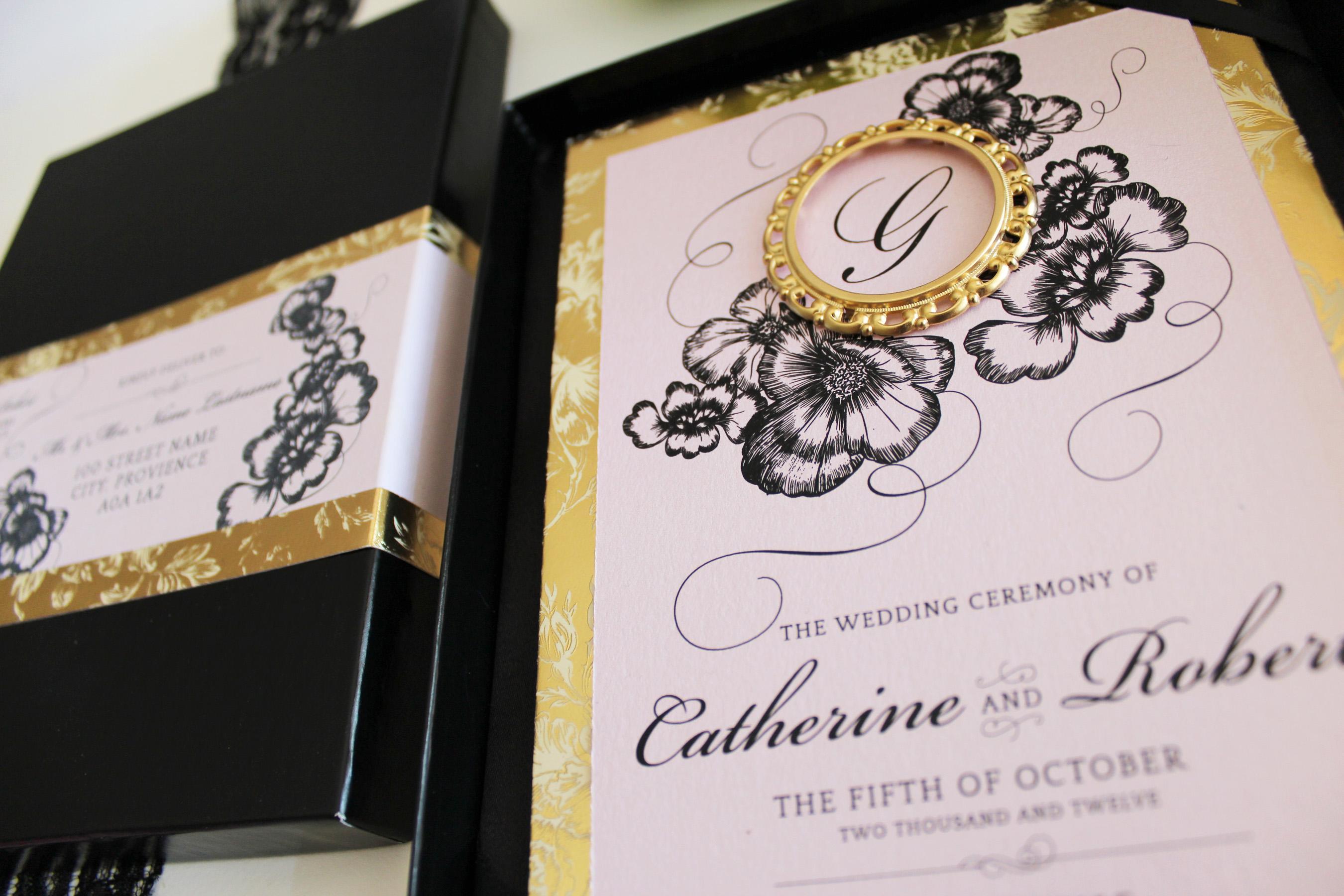 Pink And Black Wedding Invitations: Blush Pink, Gold And Black Boxed Wedding Invitation