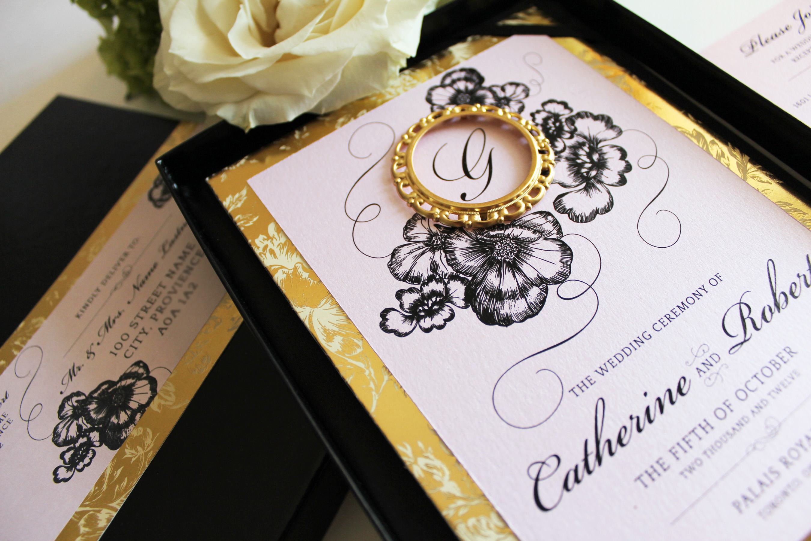 Blush Pink, Gold and Black Boxed Wedding Invitation