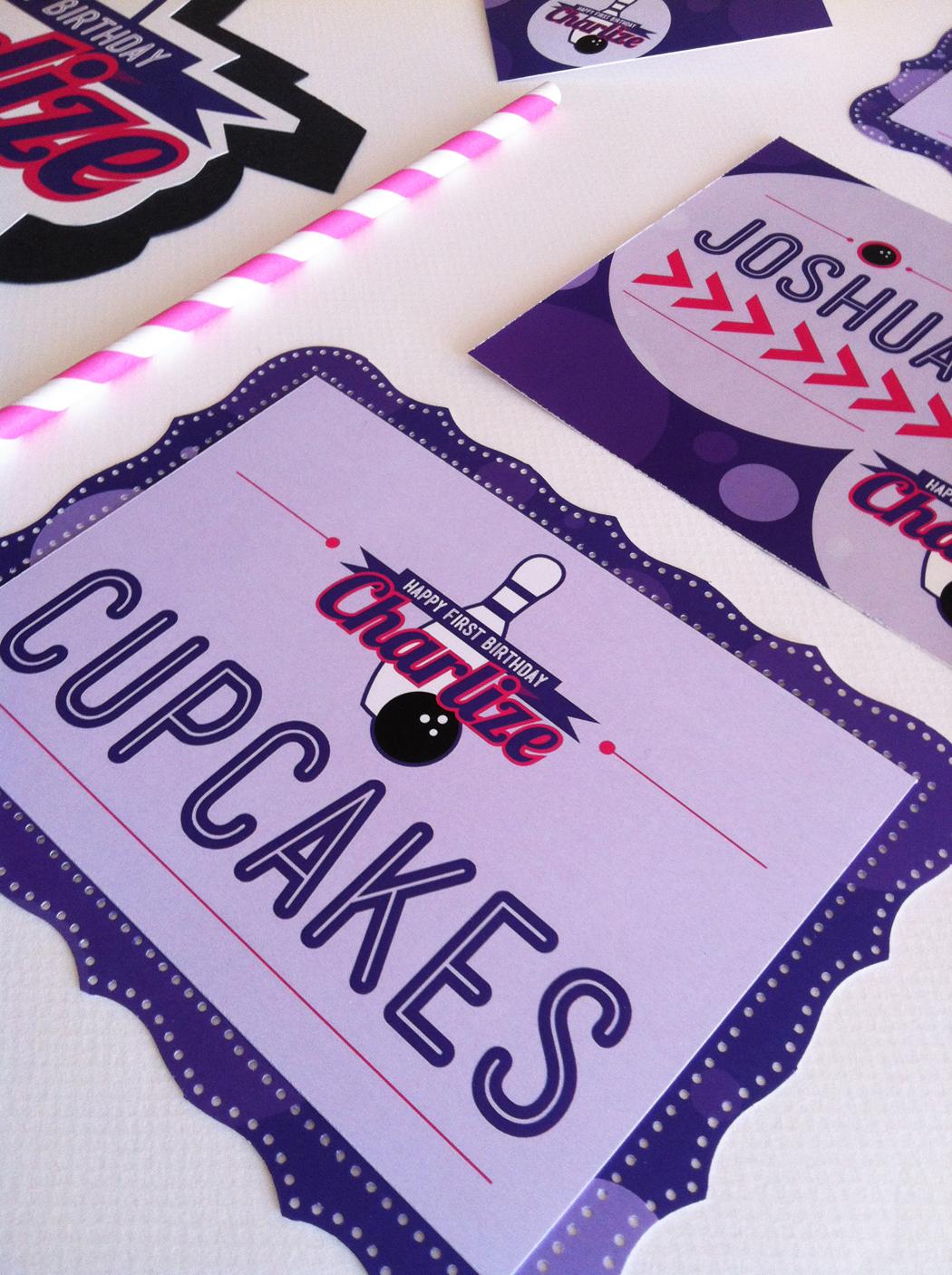 hot pink  purple  u0026 black bowling party decor