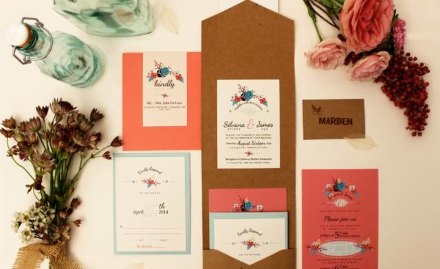 Coral And Teal Wedding Invitations: Kraft, Teal & Coral Urban Wedding Invitation