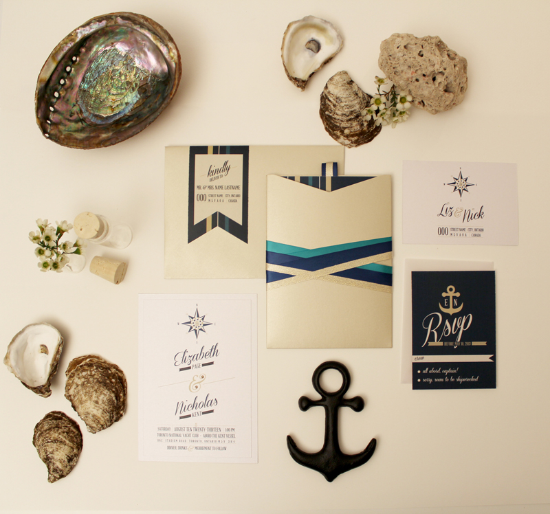 Gold Coast Wedding Invitations: Navy, White, Teal & Gold Nautical Wedding Invitation